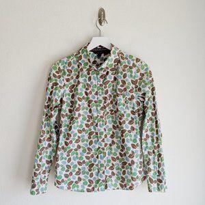 Boden Leaf Print Button Down Blouse